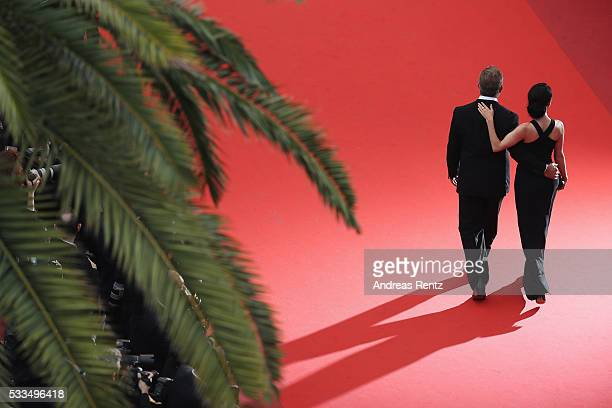 Rosalind Ross and Mel Gibson attend the closing ceremony of the 69th annual Cannes Film Festival at the Palais des Festivals on May 22 2016 in Cannes...