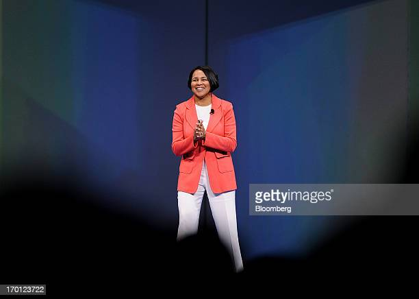 Rosalind Roz Brewer president and chief executive officer of Sam's Club speaks during the WalMart Stores Inc annual shareholders meeting in...