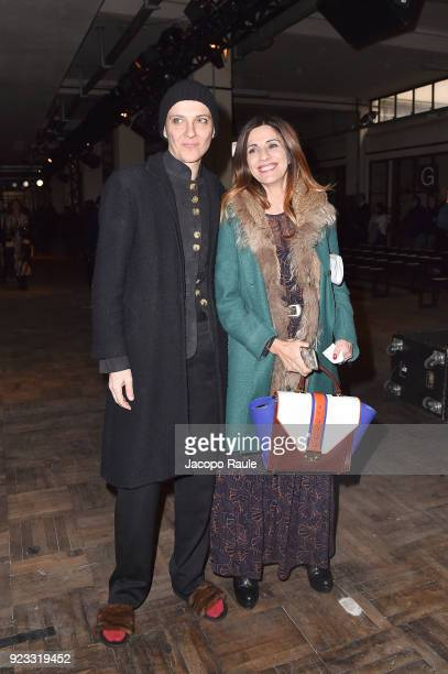 Rosalinda Celentano and a guest attend the Antonio Marras show during Milan Fashion Week Fall/Winter 2018/19 on February 23 2018 in Milan Italy