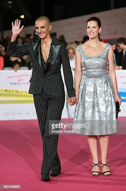 Rosalinda Celentano and Simona Borioni attend the Fiction Fest 2013 opening night at Auditorium Parco Della Mosica on September 29 2013 in Rome Italy