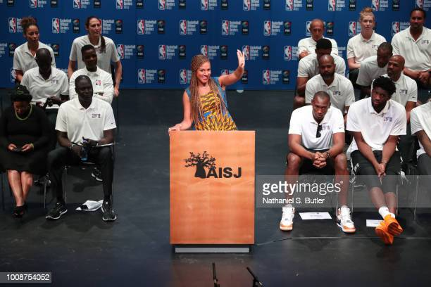 Rosalyn GoldOnwude addresses the crowd during the Opening Ceremony at the Basketball Without Boarders Africa program at the American International...