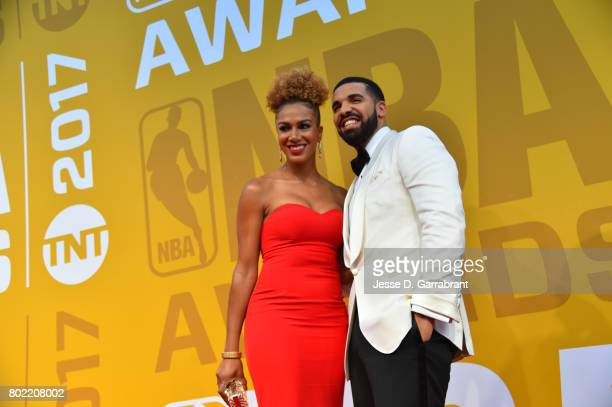 Rosalyn GoldOnwude and Host Drake arrives on the red carpet during the 2017 NBA Awards Show on June 26 2017 at Basketball City in New York City NOTE...
