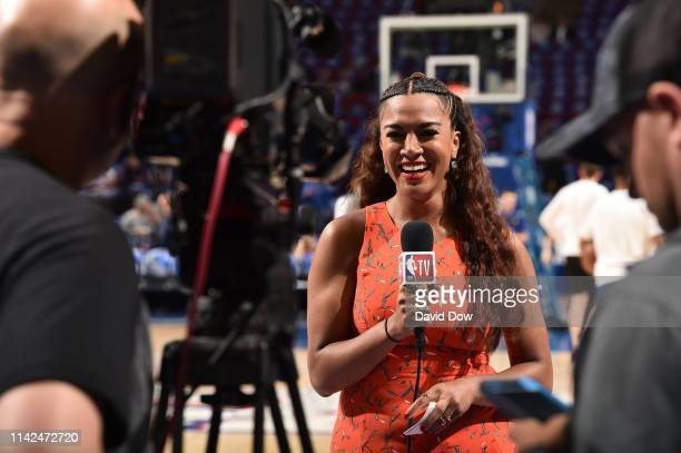 Rosalyn GoldOnwude provides commentary before Game Six of the Eastern Conference Semifinals between the Toronto Raptors and the Philadelphia 76ers...