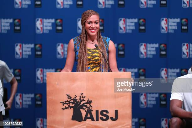 Rosalyn GoldOnwude speaks during the Opening Ceremony at the Basketball Without Boarders Africa program at the American International School of...