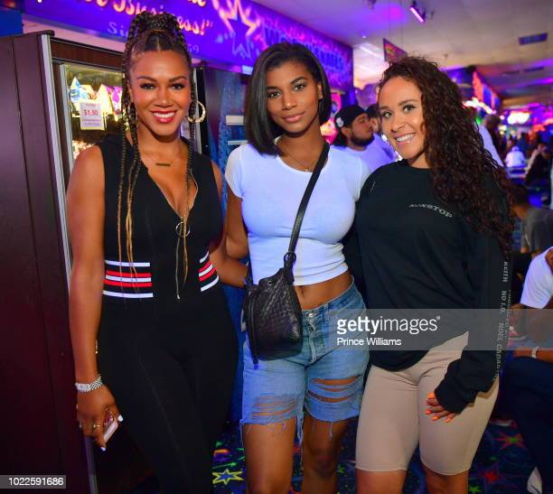 Rosalyn GoldOnwude Taylor Rooks and Daniela Posso attend Lil Yachty Birthday Celebration at Sparkles Family Fun Center on August 23 2018 in Smyrna...