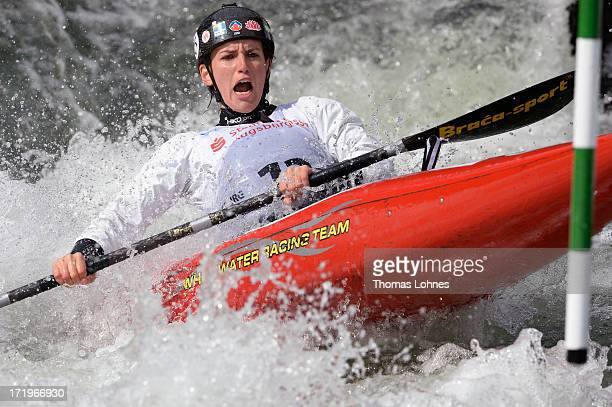 Rosalyn Lawrence of Austrialia competes in the Woman's K1 Semifinal Heat during the Canoe Slalom World Cup at Augsburgs Eiskanal on June 30 2013 at...