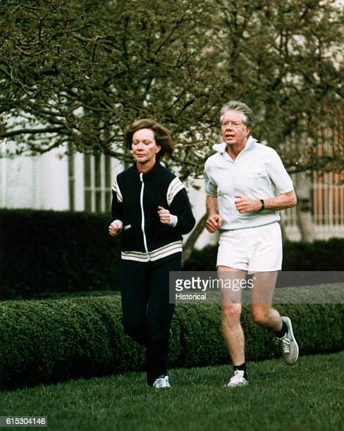 Rosalynn and Jimmy Carter, First Lady and President of the United States, go for a jog. Washington, D. C., March 16, 1979.