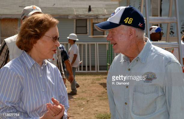 Rosalynn Carter and Former President Jimmy Carter during Habitat for Humanity 2005 Jimmy Carter Work Project Day 2 at Benton Harbor in Benton Harbor...