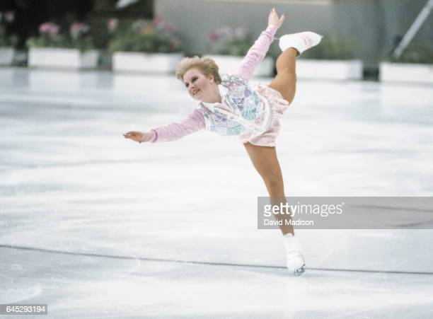 Rosalynn Sumners of the USA skates in the Figure Skating Exhibition of the Winter Olympic Games during February 1984 in Sarajevo Yugoslavia