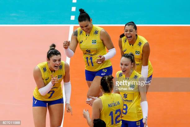Rosamaria Montibeller of Brazil celebrate during 2017 Nanjing FIVB World Grand Prix Finals between Italy and Brazil on August 6 2017 in Nanjing China
