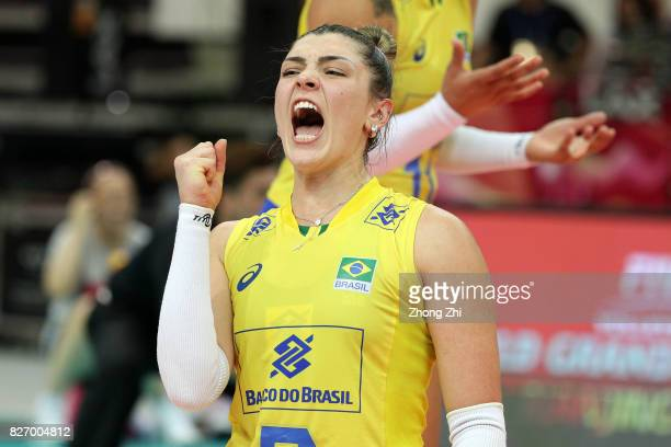 Rosamaria Montibeller of Brazil celebrates a point during the final match between Brazil and Italy during 2017 Nanjing FIVB World Grand Prix Finals...