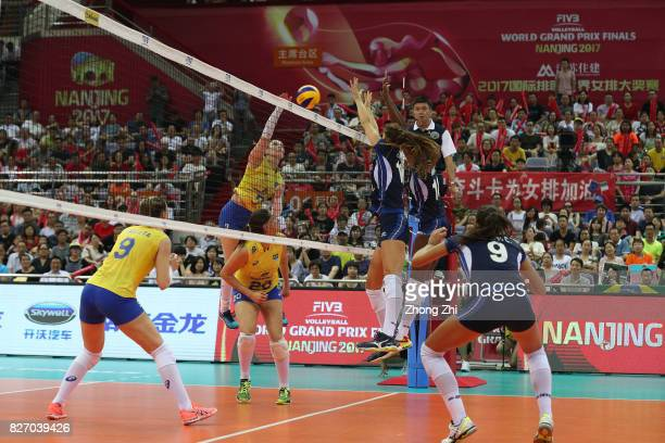 Rosamaria Montibeller of Brazil in action during the final match between Brazil and Italy during 2017 Nanjing FIVB World Grand Prix Finals on August...