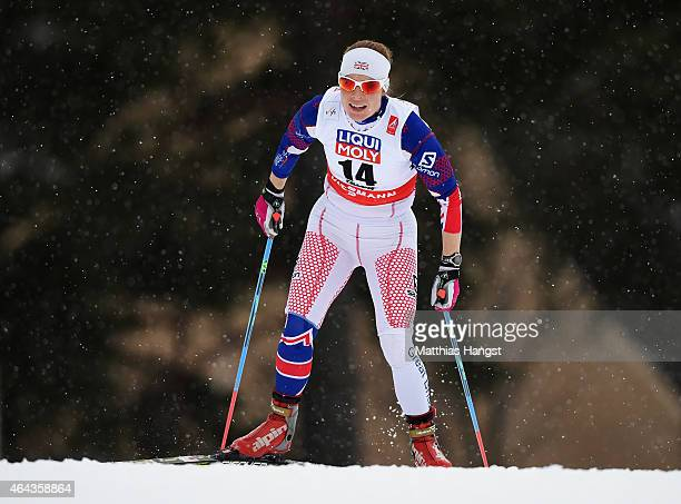 Rosamund Musgrave of Great Britain competes during the Women's 10km CrossCountry during the FIS Nordic World Ski Championships at the Lugnet venue on...