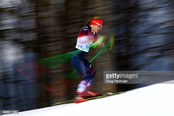 Rosamund Musgrave of Great Britain competes in Qualification of the Ladies' Sprint Fee during day four of the Sochi 2014 Winter Olympics at Laura...