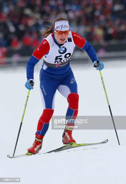 Rosamund Musgrave of Great Britain competes in the Ladies Cross Country Sprint Qualification race during the FIS Nordic World Ski Championship at...