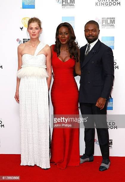 Rosamund Pike Amma Asante and David Oyelowo attend the 'A United Kingdom' Opening Night Gala screening during the 60th BFI London Film Festival at...