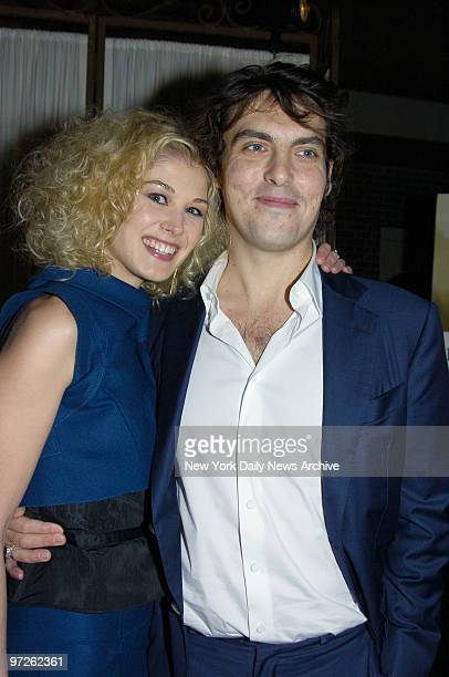 Rosamund Pike and director Joe Wright attend a party at the Central Park Boathouse following the premiere of the movie Pride and Prejudice Wright...