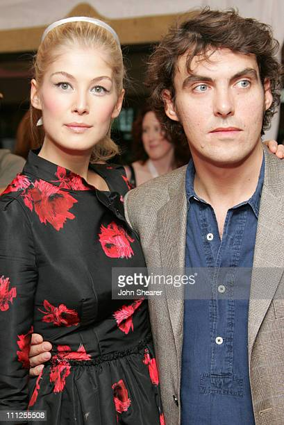 Rosamund Pike and Joe Wright director during 2005 Toronto Film Festival Pride and Prejudice Premiere at Roy Thompson Hall in Toronto Canada
