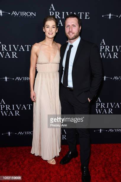 Rosamund Pike and Matthew Heineman attend Aviron Pictures' Los Angeles Premiere Of A Private War at Samuel Goldwyn Theater on October 24 2018 in...