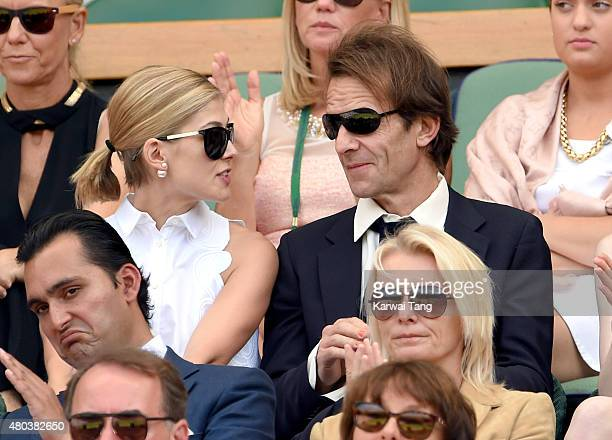 Rosamund Pike and Robie Uniacke attend day 12 of the Wimbledon Tennis Championships at Wimbledon on July 11, 2015 in London, England.