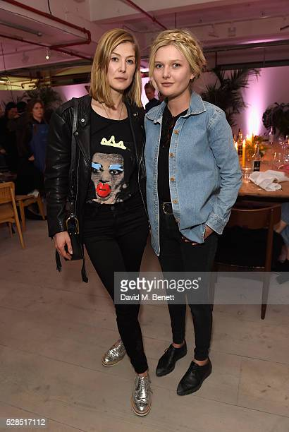 Rosamund Pike and Sophie Kennedy Clark attend a private dinner hosted by Mih Jeans to celebrate their 10th anniversary at Brewer Street Car Park on...