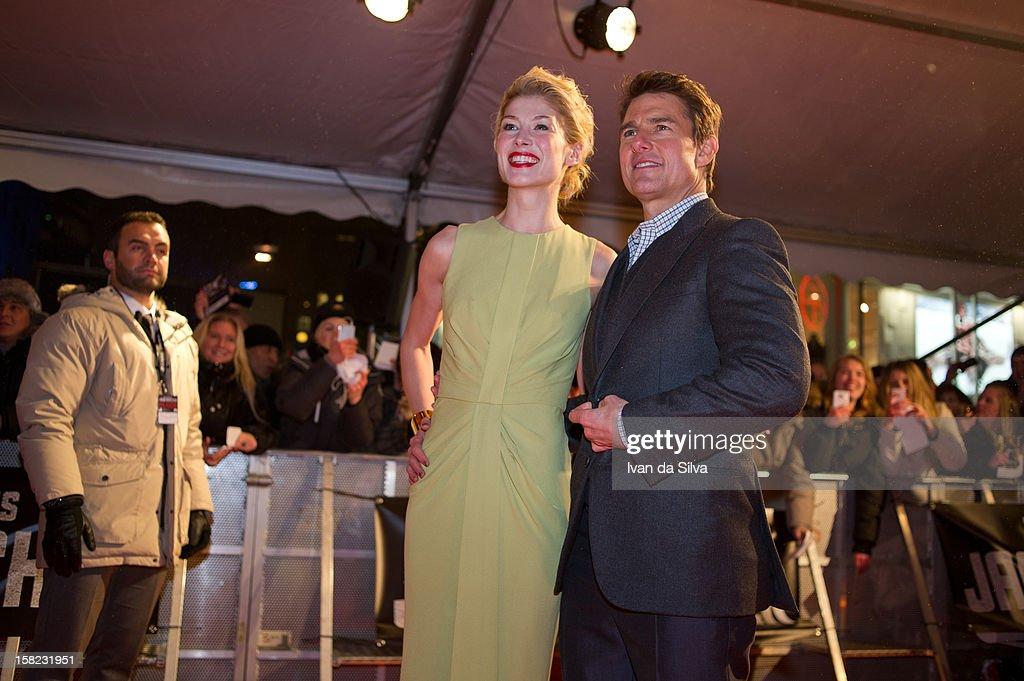Rosamund Pike and Tom Cruise attend the Swedish Premiere of 'Jack Reacher' at Multiplex Sergel on December 11, 2012 in Stockholm, Sweden.