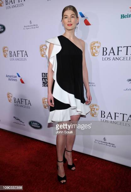 Rosamund Pike arrives to the BAFTA Tea Party at The Four Seasons Hotel Los Angeles at Beverly Hills on January 05 2019 in Beverly Hills California