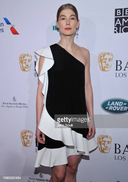 Rosamund Pike arrives to the BAFTA Tea Party at The Four Seasons Hotel Los Angeles at Beverly Hills on January 05, 2019 in Beverly Hills, California.