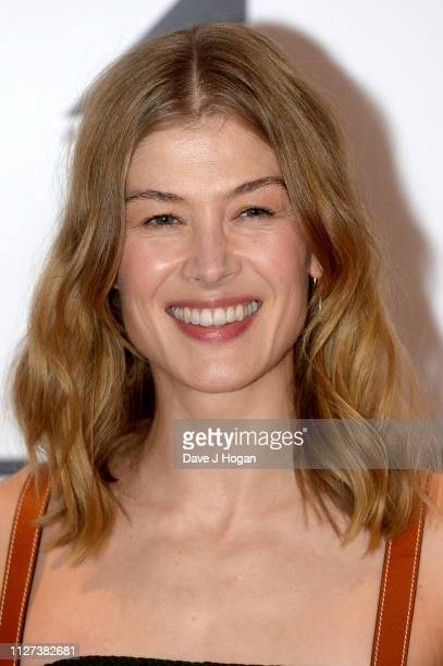 """Rosamund Pike attends a Q&A screening of """"A Private War"""" at Odeon Leicester Square on February 04, 2019 in London, England."""