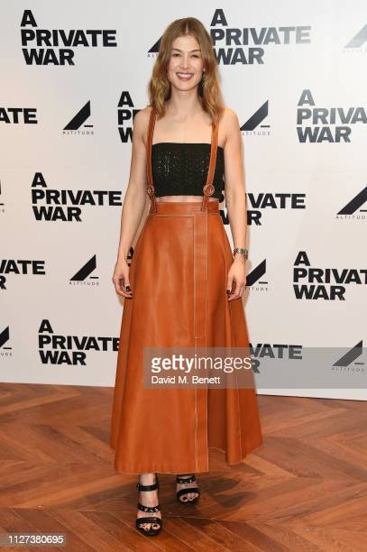 """Rosamund Pike attends a special Q&A screening of """"A Private War"""" at Odeon Leicester Square on February 04, 2019 in London, England."""