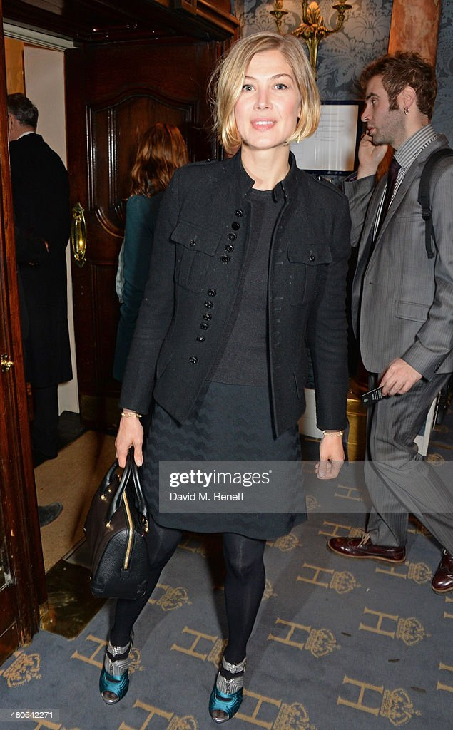 Rosamund Pike attends an after party celebrating the press night performance of 'Fatal Attraction' at Mint Leaf Restaurant on March 25, 2014 in London, England.