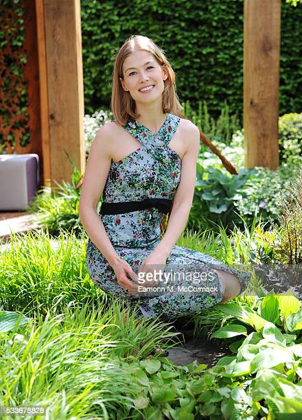 Rosamund Pike attends Chelsea Flower Show press day at Royal Hospital Chelsea on May 23, 2016 in London, England. The show, which has run annually...