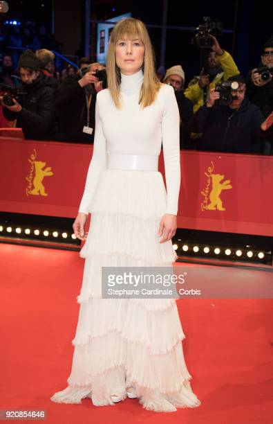 Rosamund Pike attends the '7 Days in Entebbe' premiere during the 68th Berlinale International Film Festival Berlin at Berlinale Palast on February...
