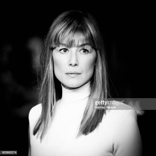 Rosamund Pike attends the '7 Days in Entebbe' premiere during the 68th Berlinale International Film Festival Berlin on February 19 2018 in Berlin...