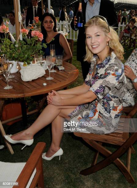 Rosamund Pike attends the annual Cartier International Polo Day at the Cartier Marquee in Great Windsor Park on July 27 2008 in Windsor England