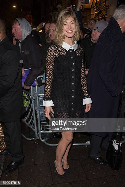 Rosamund Pike attends the Charles Finch PreBAFTA party at Annabel's on February 13 2016 in London England