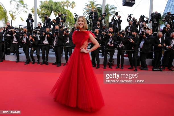 """Rosamund Pike attends the final screening of """"OSS 117: From Africa With Love"""" and closing ceremony during the 74th annual Cannes Film Festival on..."""
