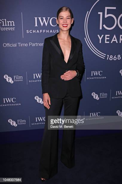 Rosamund Pike attends the IWC Schaffhausen Filmmaker Bursary Award ceremony in association with the BFI at the Electric Light Station on October 9...