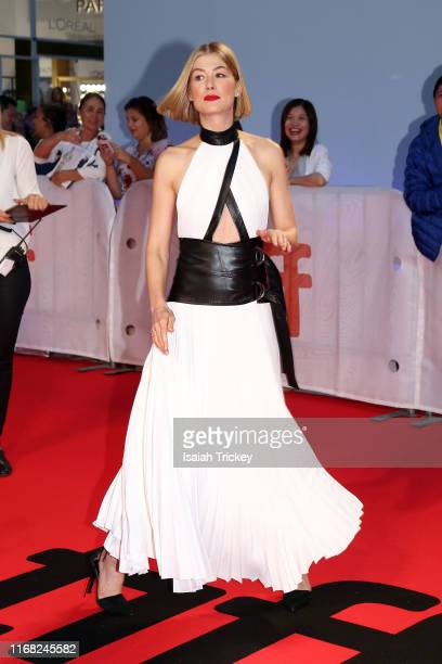 Rosamund Pike attends the Radioactive premiere during the 2019 Toronto International Film Festival at Princess of Wales Theatre on September 14 2019...