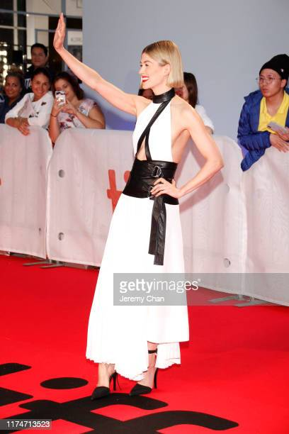 """Rosamund Pike attends the """"Radioactive"""" premiere during the 2019 Toronto International Film Festival at Princess of Wales Theatre on September 14,..."""
