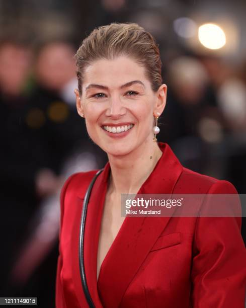 """Rosamund Pike attends the """"Radioactive"""" UK Premiere at The Curzon Mayfair on March 08, 2020 in London, England."""