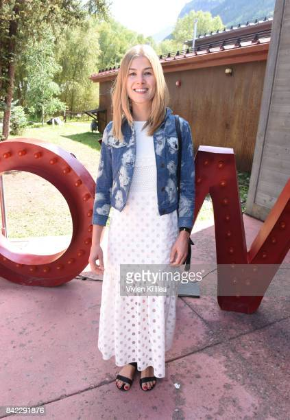 Rosamund Pike attends the Telluride Film Festival 2017 on September 3 2017 in Telluride Colorado