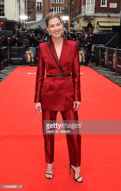 "Rosamund Pike attends the UK Premiere of ""Radioactive"" at The Curzon Mayfair on March 8, 2020 in London, England."