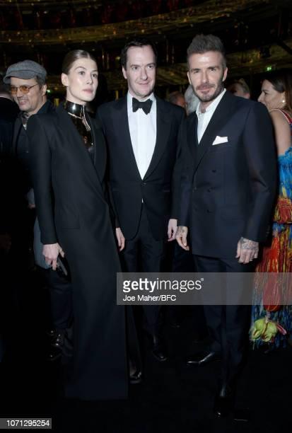 Rosamund Pike, George Osborne and David Beckham attend The Fashion Awards 2018 In Partnership With Swarovski at Royal Albert Hall on December 10,...