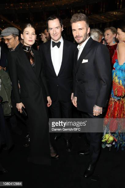 Rosamund Pike, George Osborne and David Beckham during pre-ceremony drinks at The Fashion Awards 2018 In Partnership With Swarovski at Royal Albert...