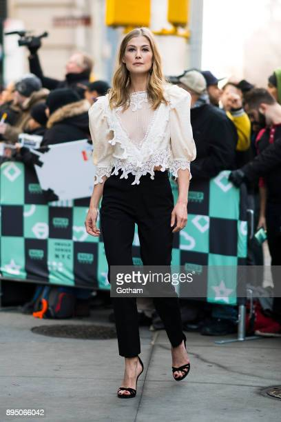 Rosamund Pike is seen in NoHo on December 18 2017 in New York City