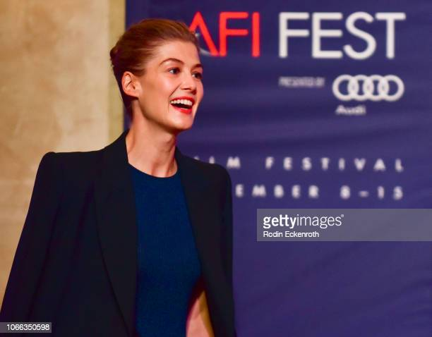 Rosamund Pike onstage at AFI FEST 2018 Presented by Audi Indie Contenders at The Hollywood Roosevelt Hotel on November 11 2018 in Los Angeles...