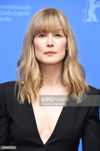 Rosamund Pike poses at the '7 Days in Entebbe' photo call during the 68th Berlinale International Film Festival Berlin at Grand Hyatt Hotel on...