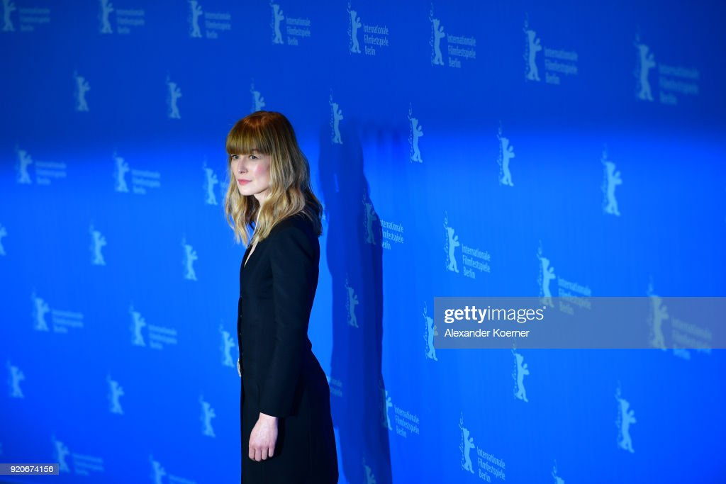 Rosamund Pike poses at the '7 Days in Entebbe' (7 Tage in Entebbe) photo call during the 68th Berlinale International Film Festival Berlin at Grand Hyatt Hotel on February 19, 2018 in Berlin, Germany.