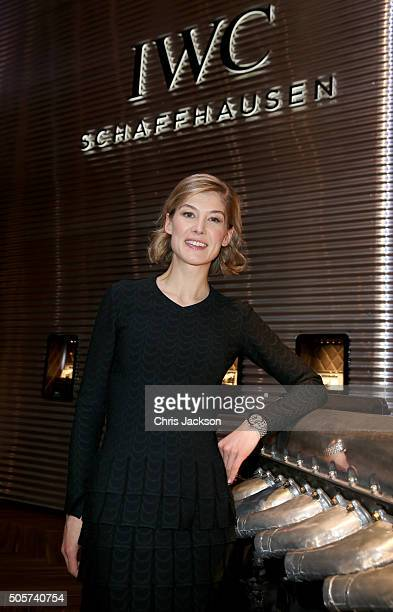 Rosamund Pike visits the IWC booth during the launch of the Pilot's Watches Novelties from the Swiss luxury watch manufacturer IWC Schaffhausen at...